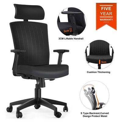 #1. Komene Adjustable Headrest Armrests Seat Height Computer Desk Chair