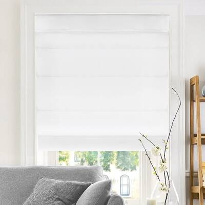 5. CHICOLOGY Belgian Snow 27x64 Light Filtering Modern Fabric Cordless Roman Shades