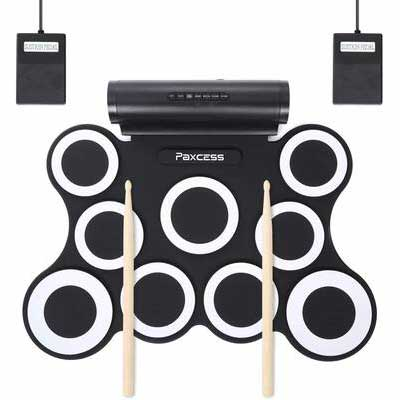 5. PAXCESS Electronic Drum Set with Built-in Speaker & Battery