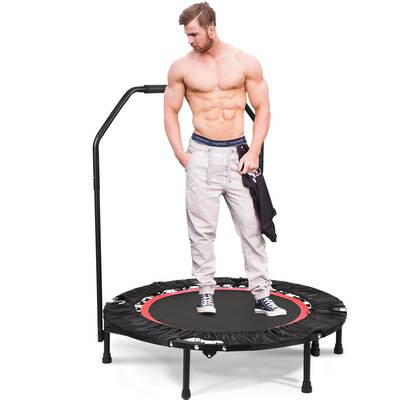 """#3. Hurbo 40"""" Foldable Max Load 300lbs Mini Trampoline with Adjustable Handrail for Kids Adults"""