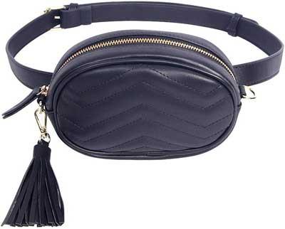 #5. GEEAD TJEtrade Leather Waterproof Belt Bum Fanny Packs Waist Bag for Women Fashion