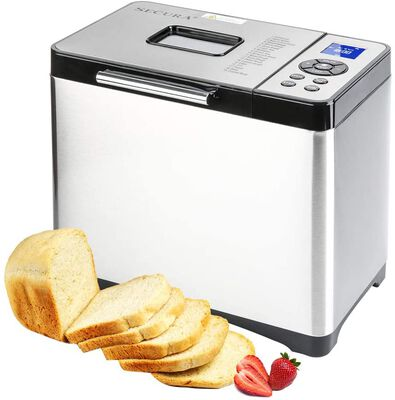 9. SECURA 650W Silver 2.2lbs Stainless Steel Multi-Use Bread Maker Machine w/19 Presets