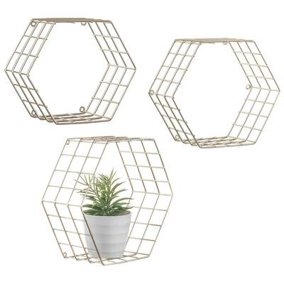 #4. MyGift Hexagonal Brass Set of 3 Tone Wire Wall Mounted Shelving Functional Storage