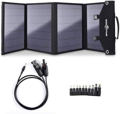 3. ROCKPALS Foldable Solar Panel Charger 100W for Suaoki Portable Generator w/3 USB Ports