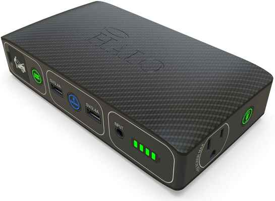 2. HALO Bolt 58830 Black Portable Laptop Phone Charger w/AC Outlet Black Graphite Power Bank