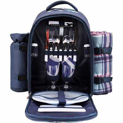 6. apollo walker Picnic Bag with a Cooler Compartment (Blue)