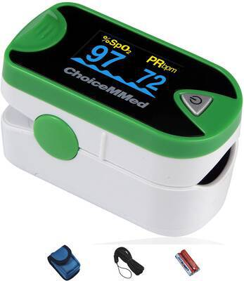 #9. CHOICEMED Dual OLED Pulse Oximeter SpO2 Blood Oxygen Heart Rate Monitor (Green)