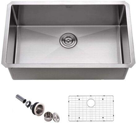 8. APPASO HS3018 30Inch 16-Gauge Stainless Steel Handmade Kitchen Sink w/Grid & Strainer