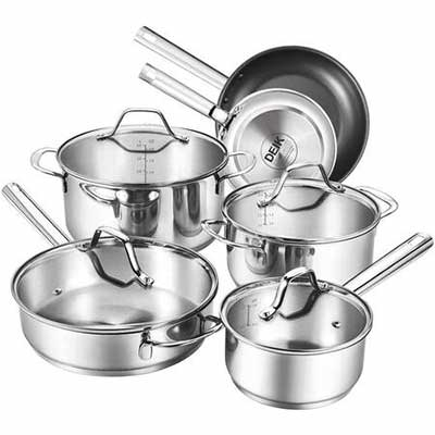 #8. DEIK 10-Piece Stainless Steel Nonstick Cookware Set