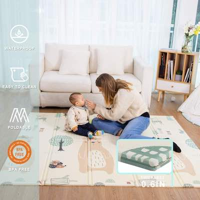 #6. Uanlauo Foldable Extra-Large Waterproof Thick Foam Portable Play Mat (Bear)