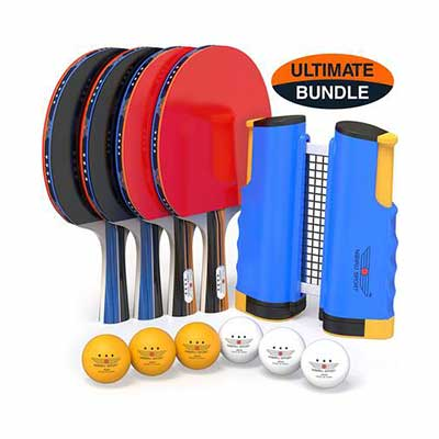 #1. NIBIRU SPORT Ping Pong Paddles w/ Retractable Net and a Storage Case