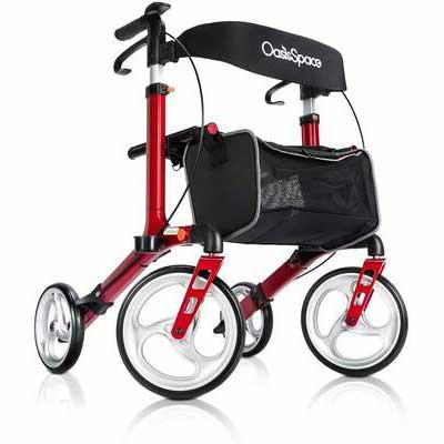 6. OasisSpace Aluminum Rollator Walker with Seat