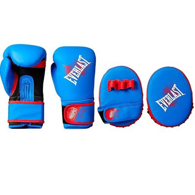 5. Everlast Prospect Synthetic Hook & Loop Unisex-Youth Glove & Mitt Kit (Blue & Red)