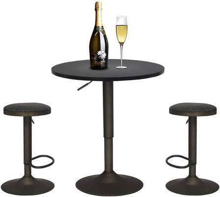 #3. YOURLITEAMZ Adjustable Comfortable Pack of 4 Round Table & 2 Black Pub Stool