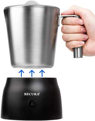 3. Secura 4 in 1 8.45 oz Stainless Steel Electric Automatic Milk Frother