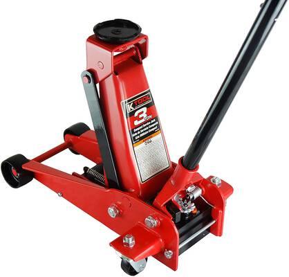 5. K Tool International KTI63131A 3 Ton Compact 18.75 Inch Heavy-Duty Swivel Rear Caster Floor Jack