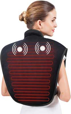 #7. Snailax Adjustable Heat Level & Vibration Neck and shoulder Massage Auto Shut Off