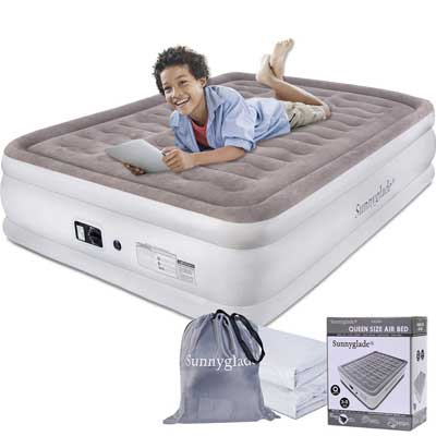 #5. Sunnyglade 18'' Height Inflatable In-Built Electric Pump Raised Airbed Camping Air Mattress