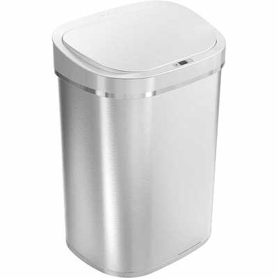 #7. Ninestars Automatic Touchless Stainless Steel Infrared Motion Sensor Trash Can (Silver Lid)