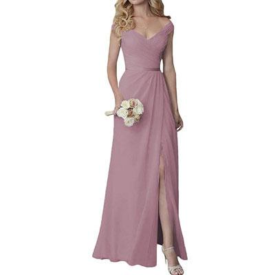 #9. Cute V-Neck Long Bridesmaid Dress