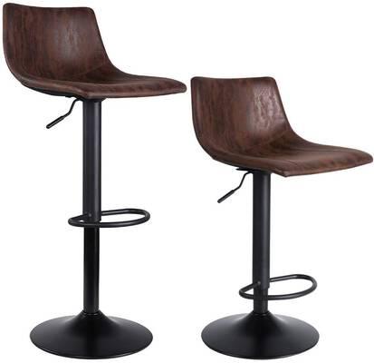 2. SUPERJARE Fabric Set of 2 Swivel Bar Stool Chairs Modern Pub Kitchen Counter (Retro Brown)