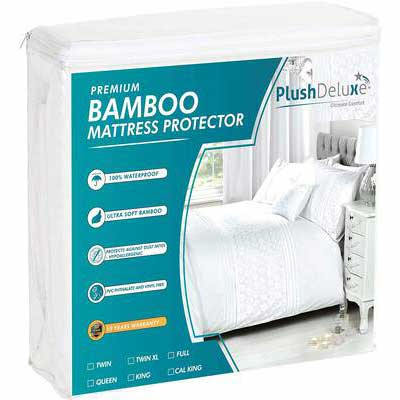 3. PlushDeluxe Premium Bamboo Ultra Soft and Waterproof Mattress Protector (Queen Size)