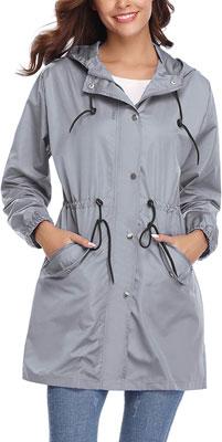 #10. Abollria Lightweight Women's Hooded Rain Jacket Outdoor Waterproof Raincoat