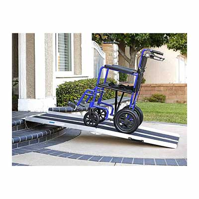 #9. Clevr 6 Inch Extra Wide Non-Skid Traction Aluminum Wheelchair Ramp