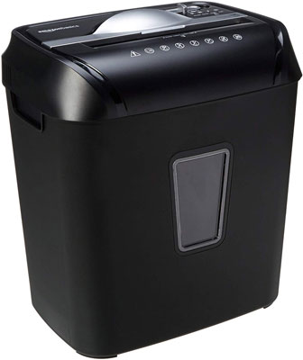 7. AmazonBasics Cross-Cut Paper 12-Sheet Credit Card Shredder