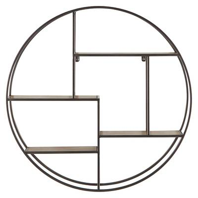 #2. Rivet Contemporary 29.72'' W Round Floating Iron 4 Shelf Wall unit (Natural wood & silver)