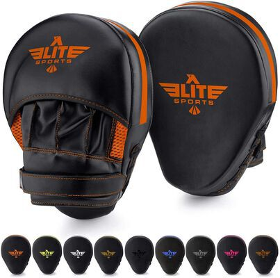 8. Elite Sports Long-Lasting MUAY MMA THAI Synthetic Leather Punch Mitts (Orange)