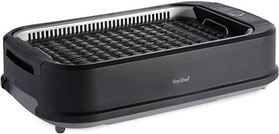 #7. VonShef Non-Stick Ceramic Surface Electric Smokeless Outdoor Grill -1200W