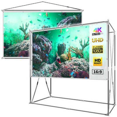 #5. JaeilPLM 2-in-1 100-Inch Outdoor Indoor Portable Projector Screen