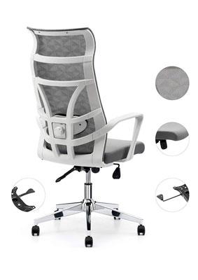 #9. Allguest Nylon AG-876FH-W White High Back Armrest Office Chair