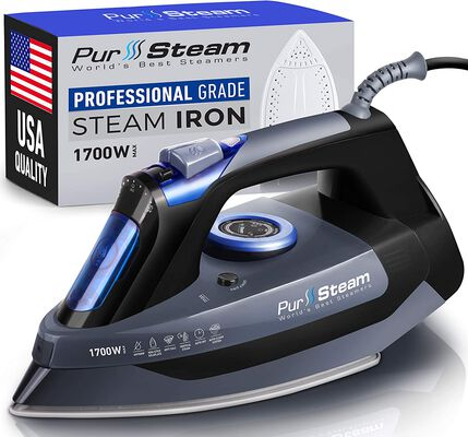 4. PurSteam Professional 1700W Stainless Steel Self-Cleaning Scratch-Resistant Steam Iron