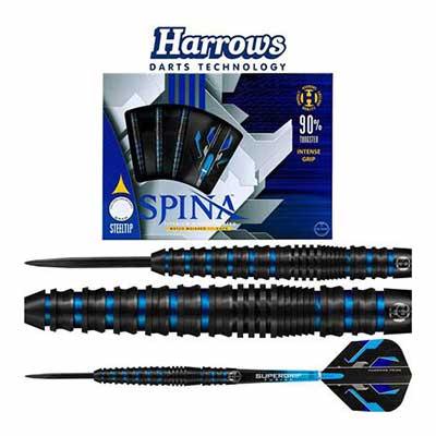 #1. Harrows Spina Black Titanium Nitride 90% Tungsten Barrels Blue Steel Tip Darts Set