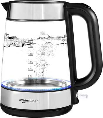 #9. AmazonBasics 1.7L Steel and Glass Heat Fast Cordless Detachable Base Electric Kettle