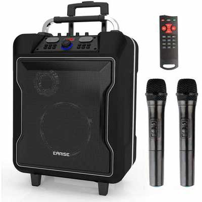 5. EARISE Black M60 Portable PA-System Remote Control Aux Input USB Charging & Wheels