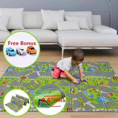 #1. FORSTART Foldable Non-Toxic Foam 79'' x 71'' with 0.6'' Thick Crawling Mat