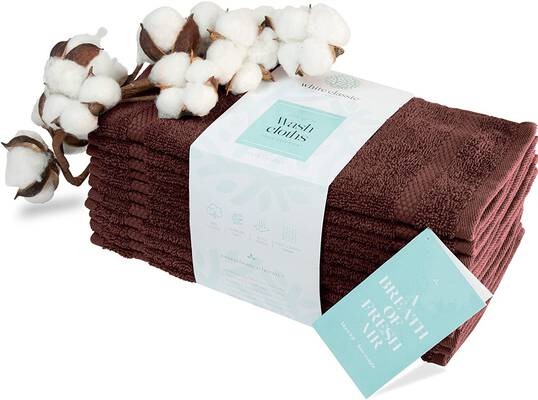 #2. White Classic Luxury Cotton Washcloths Bathroom Face Towel
