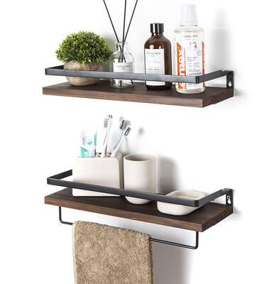 #7. SODUKU Set of 2 Floating Wall Mounted Storage Shelving for Bathroom & Kitchen (Brown)