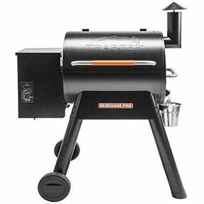 1. Traeger TFB38TOD Wood Pellet Grill Renegade Pro w/BBQ Chicken Hanger (Black/Orange)