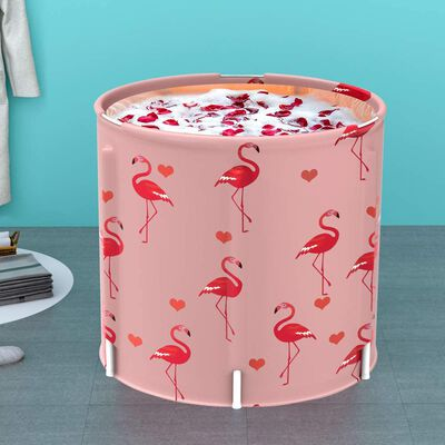 9. LUCKUP Pink Flamingo Thermal Foam Eco-Friendly Foldable Freestanding Portable Bathtub