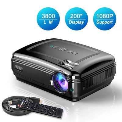 #4. FUJSU 3800LM Home Movie Projector for Laptop, PC iPad, Android Full HD Video Projector