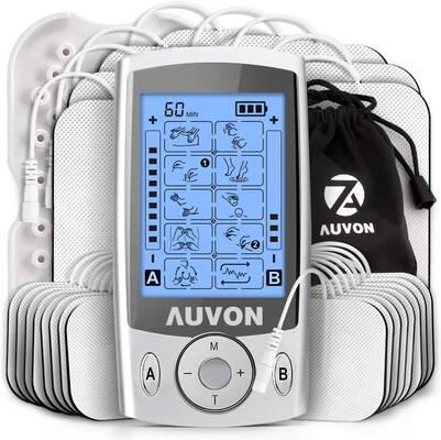 #6. AUVON Dual Channel TENS Unit 20 Modes 24-Pcs Rechargeable Muscle Stimulator