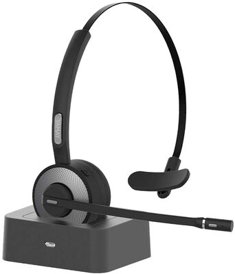 8. YAMAY Wireless 19H Talk Time Noise Cancelling Mic Charging Base Bluetooth Headset