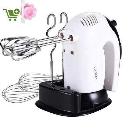 #1. SURPEER 300W 5 Speed Stainless Steel Attachments Kitchen Handheld Mixer Whisk