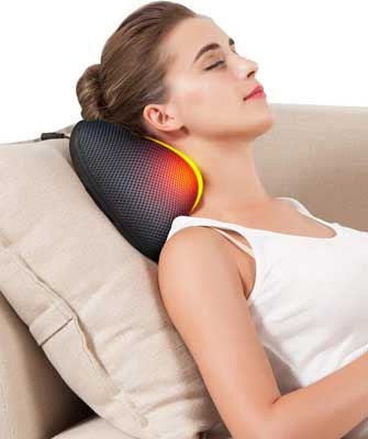 #9. Kim Carrey 3D Portable Deep Tissue Electric Neck and Shoulder Massage Pillow