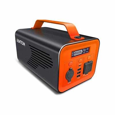 8. AIMTOM 12V DC Carport Pure Sine Wave 230Wh 110V 200W AC 60W USB-C Portable Power Station