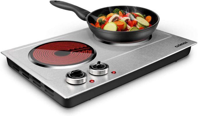 10. CUSIMAX Dual Control Infrared Countertop 1800W Ceramic Electric Hot Plate
